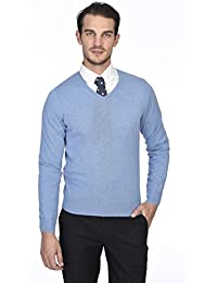 Men's 100% Pure Cashmere Long Sleeve Pullover V Neck Sweater