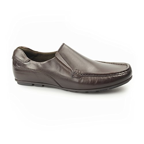 Base London CUBA Mens Leather Moccasin Loafers Brown Brown