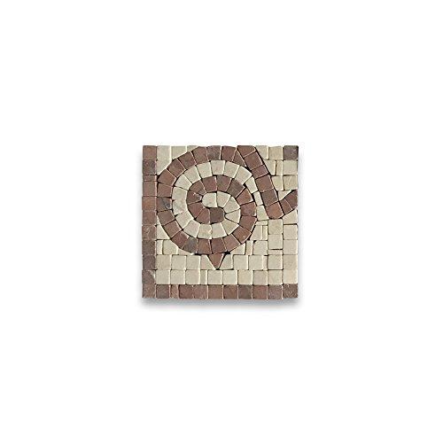 (Garden Rojo 4x4 Marble Mosaic Border Corner Tile Tumbled)