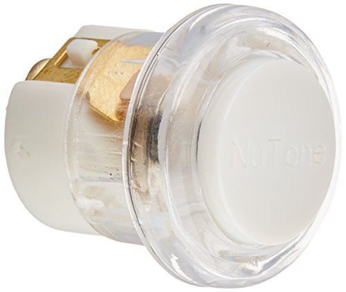 NuTone PB18LWHCL Round Wired Lighted Door Chime Push Button, White with Clear Bezel Brass Door Chimes