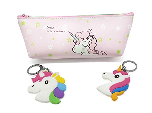 Case Bag Keychain (Unicorn Pencil Bags with 2 Key Chains, Pen Pouches with Zipper for Students or Office Workers, Travel or Stationary Case Makeup Cosmetic Bag, Cute Back to School Supplies(Pink))