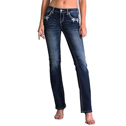 Women's Dark Wash Aztec Embellished Junior Fit Bootcut Jeans | JB-51307 - Size 26