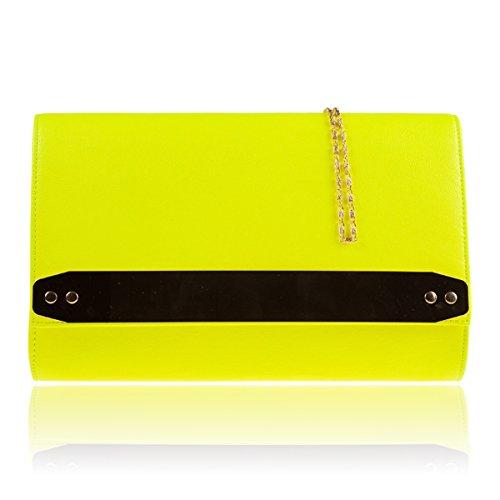 Xardi London New in similpelle donne pochette da sposa designer donne Evening party Handbags Neon Yellow