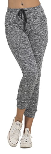 Women's Classic Elastic Drawstring French Terry Casual Marled Jogger Sweatpants