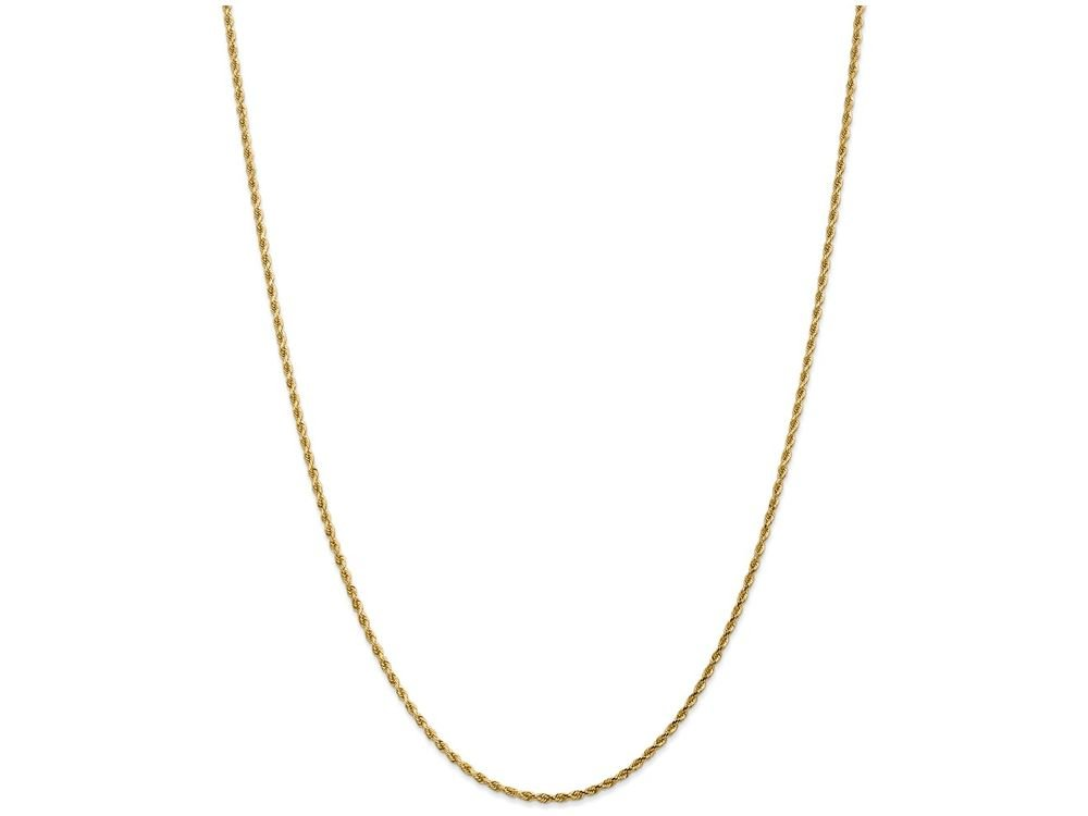 Finejewelers 9 Inch 14k 1.75mm bright-cut Rope with Lobster Clasp Chain Ankle Bracelet (Smaller Ankles)