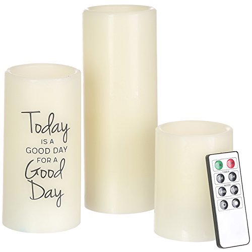 CEDAR HOME Flameless Candles LED Battery Powered Pillar Tealight Real Scented Wax with Remote, Pack of 3, Today is a Good Day
