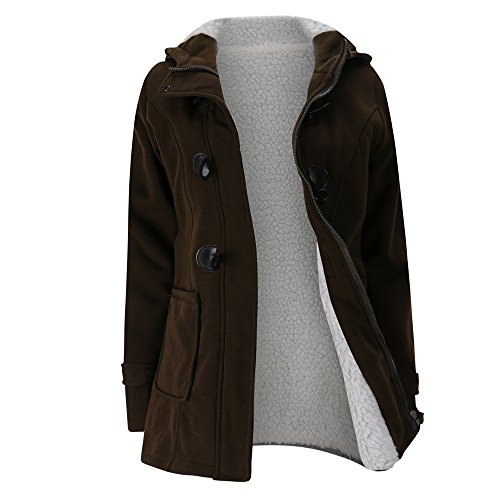 Solid Pewter Button - AOJIAN Women Jacket Long Sleeve Outwear Warm Hooded Zipper Button Solid Coat Coffee