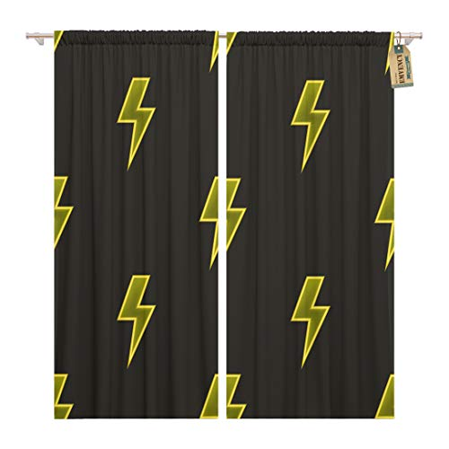 Golee Window Curtain Colorful Yellow Neon Lightning Bolt on Dark Brown Glowing Home Decor Rod Pocket Drapes 2 Panels Curtain 104 x 84 inches - Lightning Window Graphic