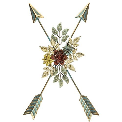 Floral Center - Crossed Arrows Metal Wall Decor with Floral Center