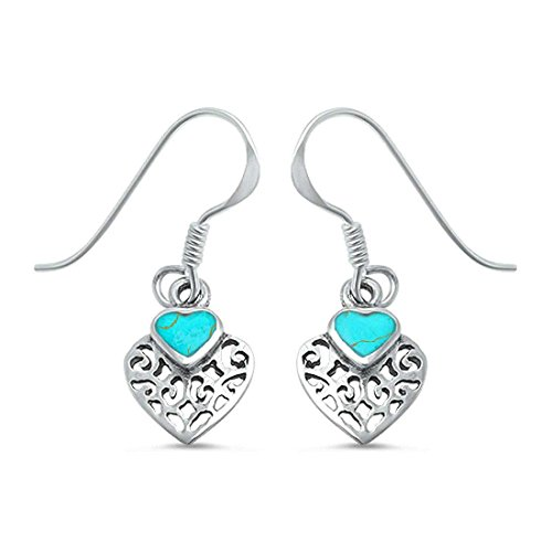 Filigree Art Deco Heart Dangle Drop Fish Hook Earrings Simulated Green Turquoise 925 Sterling Silver