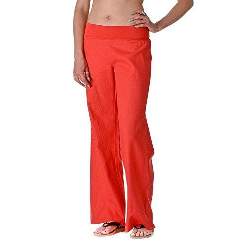 Love Tree Women's Fold-Over Waist Linen Pants, Dark Coral, Medium