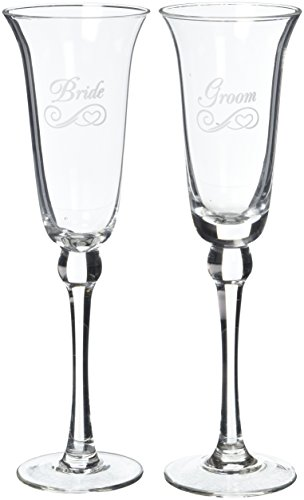 Refined Etched Flutes - Bride and Groom Flute Set ()