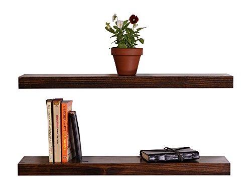 DAKODA LOVE Clean Edge Floating Shelves, USA Handmade, Clear Coat Finish, 100% Countersunk Hidden Floating Shelf Brackets, Beautiful Grain Pine Wood Wall Decor (Set of 2) (24