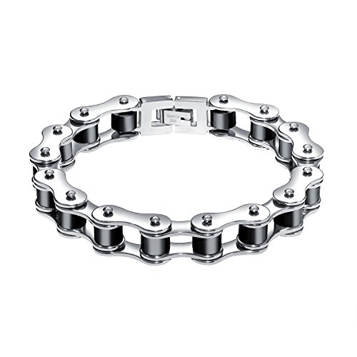 12mm Chain - MONIYA 12mm Punk Style Stainless Steel Heavy Metal Motorcycle Bike Chain Link Bracelet For Men High Polished