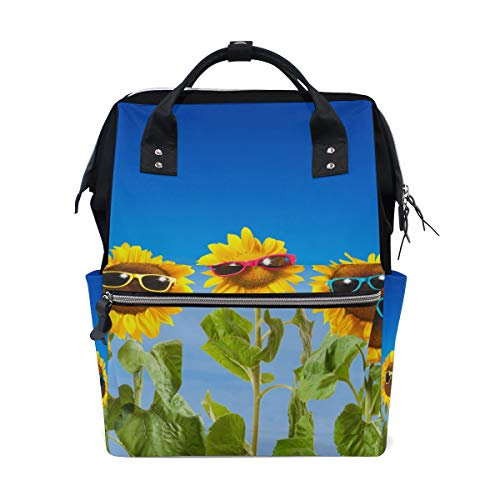 - ColourLife Diaper Bag Backpack Sunflowers with Sunglasses On Blue Casual Daypack Multi-Functional Nappy Bags