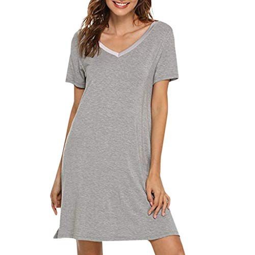 VECDUO Women's Casual Solid Color Short Sleeve Shirt Tops Soft Loose Dress -