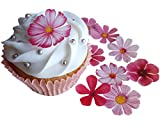 . PRE-Cut Beautiful Pink Flowers Edible Rice/Wafer Paper PRE Cut Cupcake Cake Dessert Toppers...