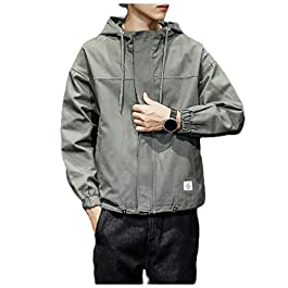 Men's Big and Tall Full Zip Parka Jackets Trim-Fit Hood Jackets