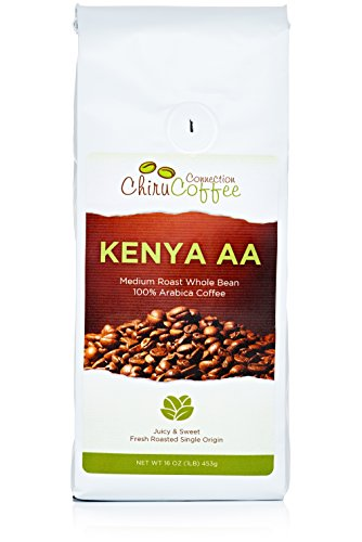 Chiru Coffee Connection Fresh Roasted Kenya's Finest AA Roasted Whole Bean Arabica Coffee, 16 oz, Bag 1 lb