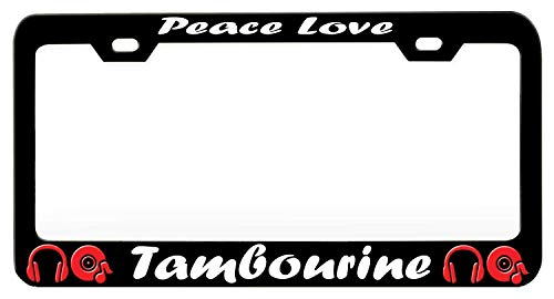 XYcustomBest Cute Slimline Auto Car License Plate Frame Personalized Tag License Plate Cover, Peace Love Tambourine Music and Instruments 1, Cool License Plate Border GM Front/Back Vehicle, ()
