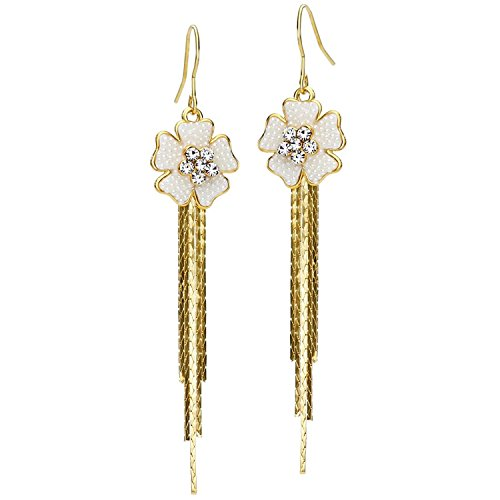 Neoglory 14k Gold Plated Rhinestone Yellow Drop Dangle Earring, Black