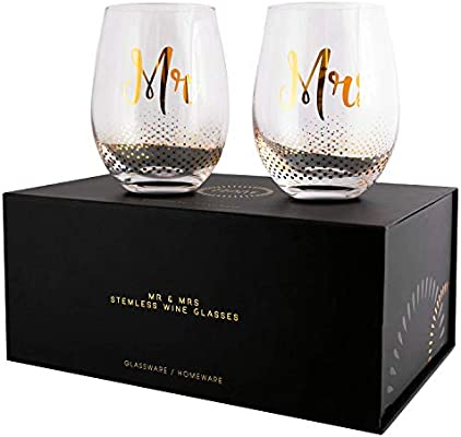 Mr Mrs Gifts Set Of 2 Crystal Stemless Wine Glasses With Beautiful Gift Box Perfect Engagement Gift Wedding Gift Anniversary Or Couples Gift