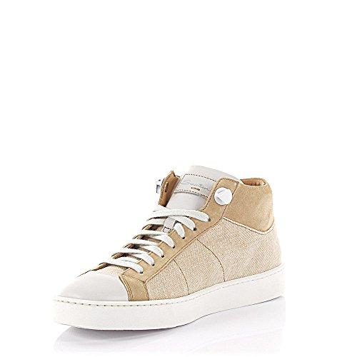 Santoni Sneakers Mid Cut D60026 Veloursleder Stoff Beige