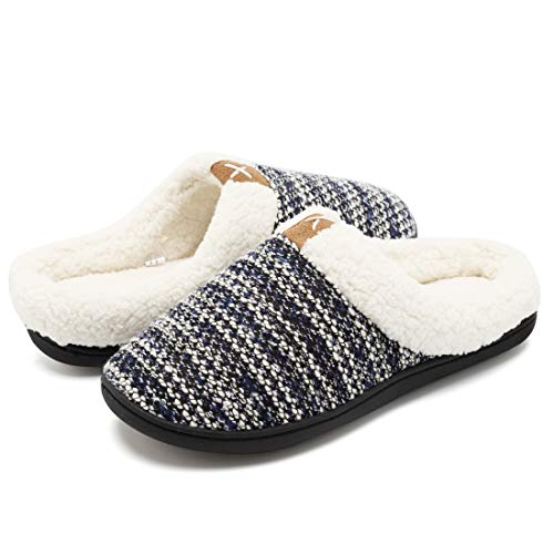 Sole Skid Indoor Women's Knitted Shoes Foam Slippers Plush Memory Comfort House Upper Outdoor Like Lined FCKEE TPR Navy Anti Wool UAOaqa
