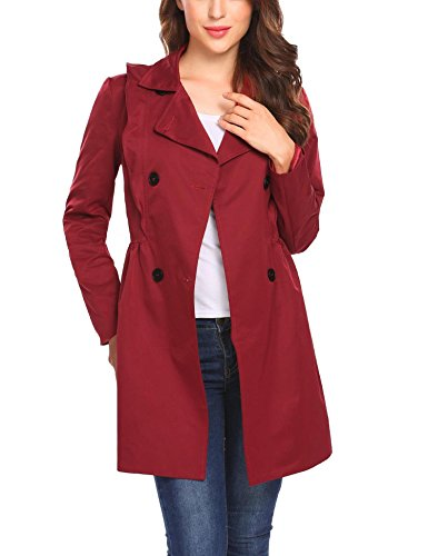 etuoji Women Lapel Double Breasted Ruffles Décor Slim Fit Casual High Waist Red Trench Coat