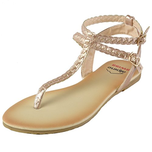 Price comparison product image alpine swiss Women's Gladiator Sandals Braided T-Strap Slingback Flats RSGLD 6 M US