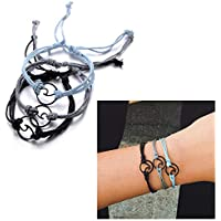 3PC Bohemian Wave Seagull Wool Bracelet,Navy Style Velvet Hand-woven Knit Knot Bracelet Three-piece Suit for Women Girls Holiday Jewelry