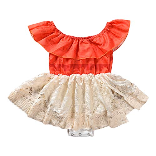 Baby Girl Moana Fancy Dress Romper Sister Matching Ruffle Lace Outfits Costume (12-18 Months, Romper)]()