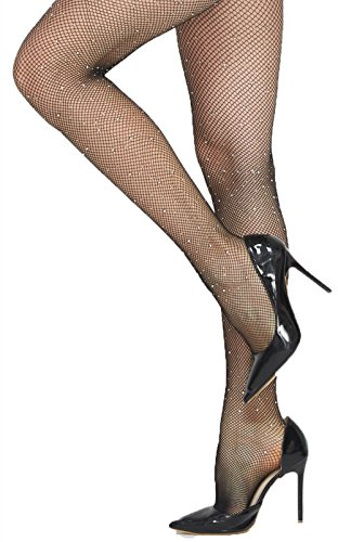 Leoturny Women's Wide Sexy Stockings High Waisted Fishnet Tights (Black(Rhinestone))