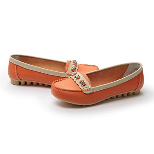 JRenok Femmes Chaussures à Talon Bas Loisir Mocassins Élégant Chaussures Travail en Cuir Souple Couleurs Riches 35-40 Orange fjar4Y