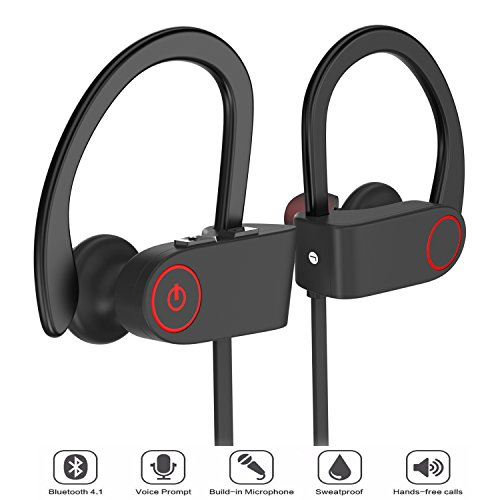merdumia wireless bluetooth headphones noise cancelling sport headset with mic and secure ear. Black Bedroom Furniture Sets. Home Design Ideas