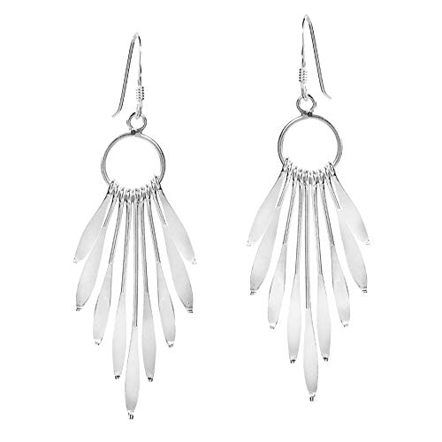 Sparkling Sticks Circle Chandelier .925 Sterling Silver Dangle Earrings