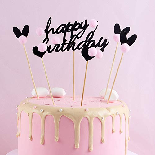 PureArte Happy Birthday Cake Topper For Adults And Kids Party Black Hearts With Pink Balls