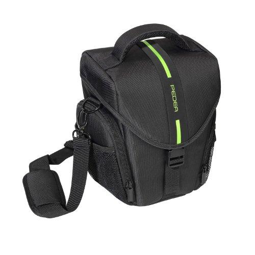 PEDEA SLR Kameratasche für Pentax K-3 / Canon EOS 6D, 60D, 500D, 550D, 600D, 650D, 700D, 750D / Nikon D5200 (Größe L, Frontloader) schwarz/grün mit Displayschutzfolie