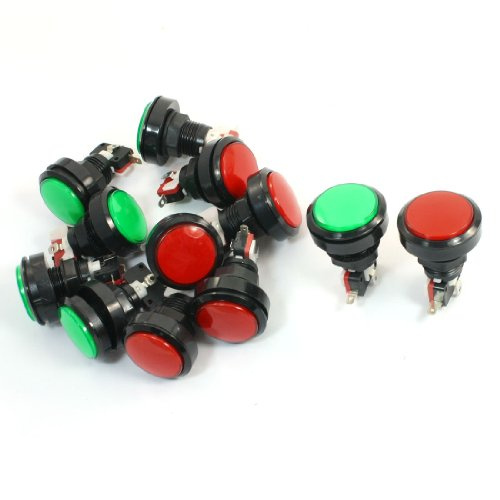 SPST Red Green Indicator Momentary Arcade Button Micro Switch 12Pcs