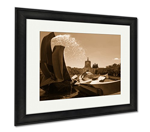 Ashley Framed Prints Salem Oregon Capitol Building And Water Fountain, Modern Room Accent Piece, Sepia, 34x40 (frame size), Black Frame, - Shop Salem Oregon Frame