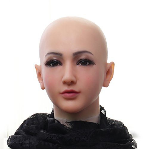 (Soft Silicone Realistic Female Head Mask Hand-Made Face for Crossdresser Transgender Halloween Costumes 3G Light)
