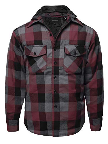 (Casual Detachable Hoodie Plaid Flannel Quilted Button Jacket Burgundy 2XL)