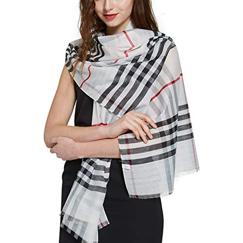 Classic Tassel Plaid Scarf Long Check - White Plaid Scarf Lightweight Unisex in Check and Plaid 74.8