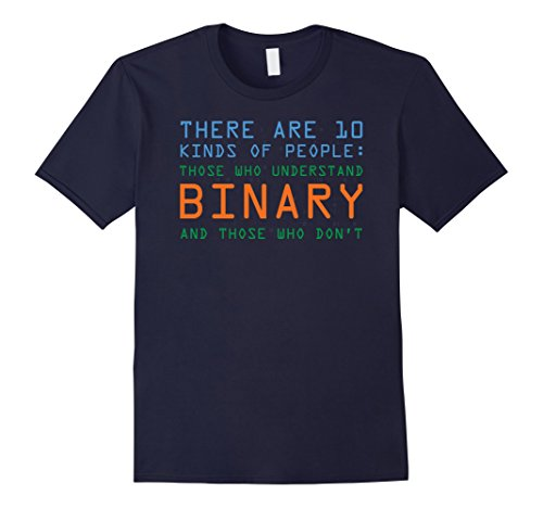 Men's Funny Computer Nerd T-shirt, Binary Code Geek by Zany Brainy 2XL Navy