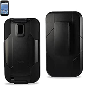 Reiko RKSLCPC09-SAMT989BK Hard Cover Case with Holster Combo for Samsung Galaxy S II/T989, 1-Pack, Retail Packaging, Black