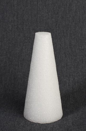 Package of 6 White Styrofoam Cones for Crafting and Decorating