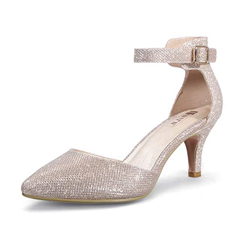 IDIFU Women's IN3 D'Orsay Pointed Toe Ankle Strap Mid Heel Pump (Gold Glitter, 10 B(M) US)