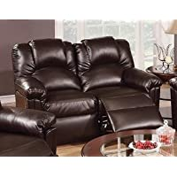 Espresso Bonded Leather Reclining Loveseat by Poundex
