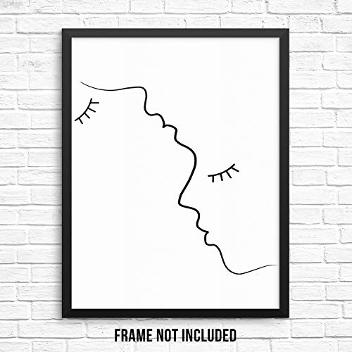 "Sincerely, Not Modern Abstract Wall Decor Art Print Poster - Man and Woman Face Silhouette Outline - 8""x10"" UNFRAMED - Minimalist Black and White Artwork for Living Room Couple"