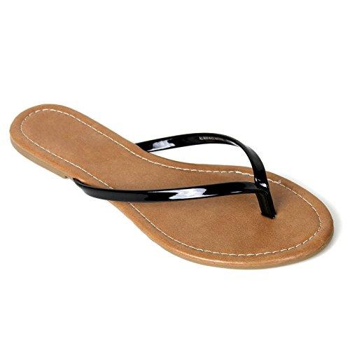 Black Patent Flip Flops (Womens Summer Flat Flip Flops Slip On Sandals Shoes (7, Black))